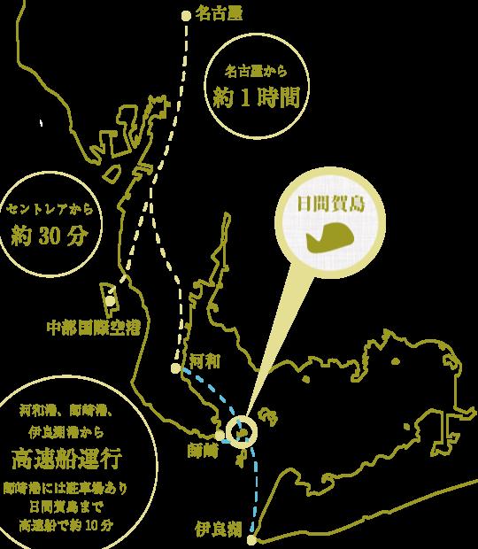 日間賀島への経路図